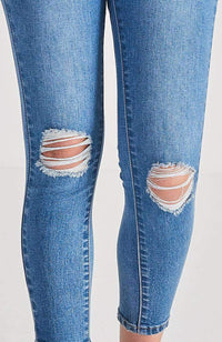 mia 7/8 mid blue ripped jean