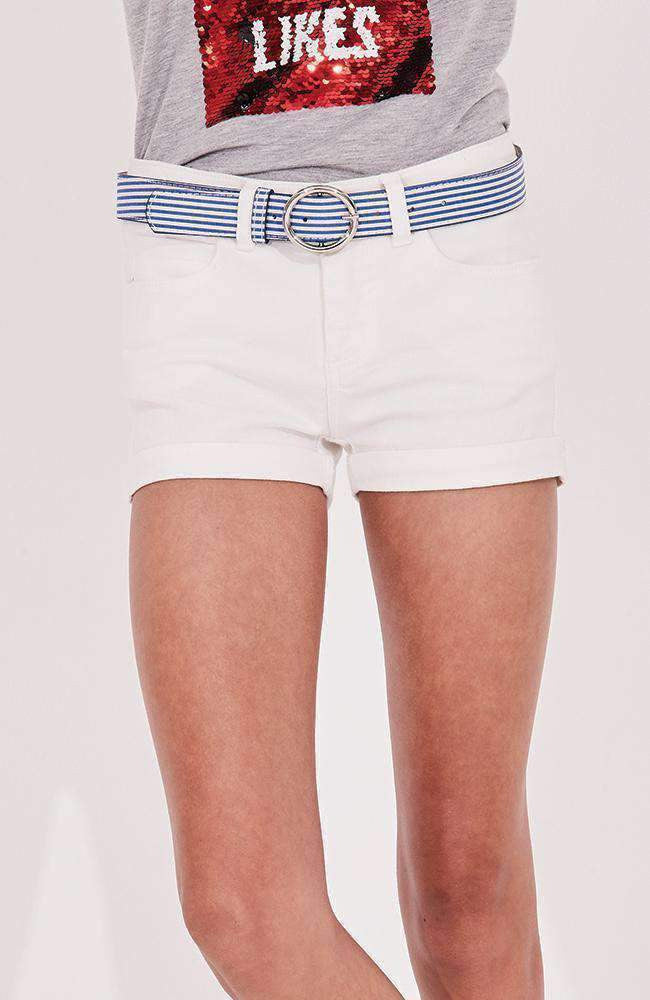suzanne blue ribbon belt white denim short