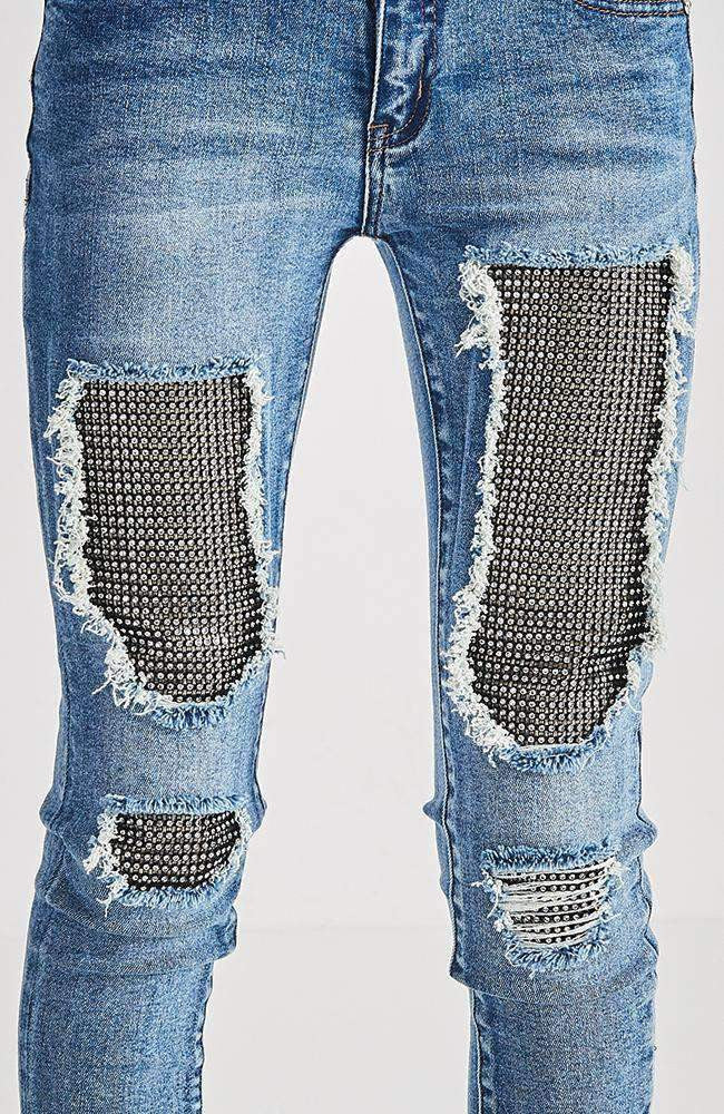 angelique 7/8 diamante mesh dark blue jean