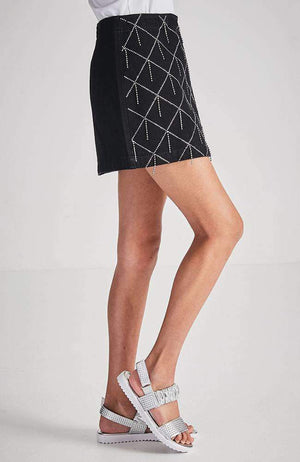 jade black denim diamante mini skirt