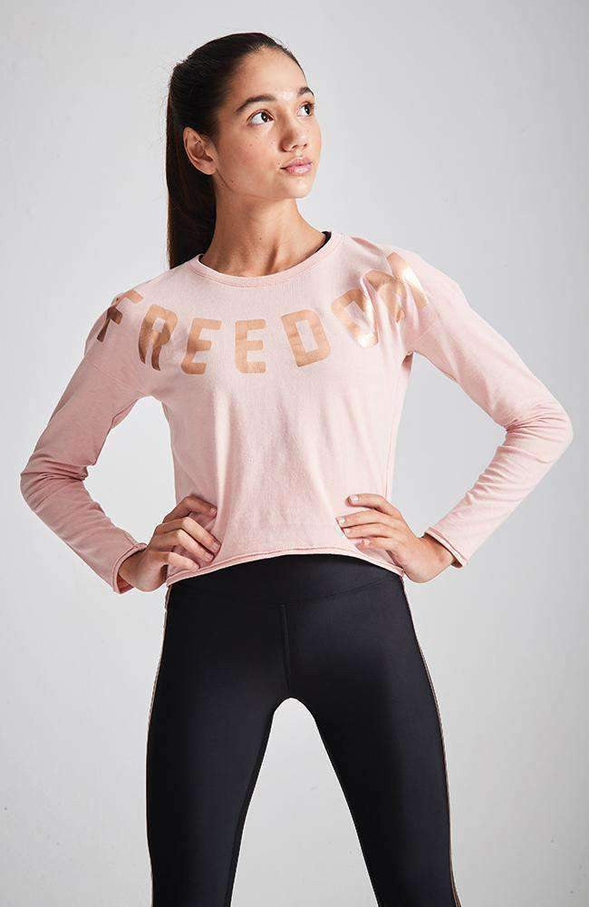 freedom pink & rose gold foil tee