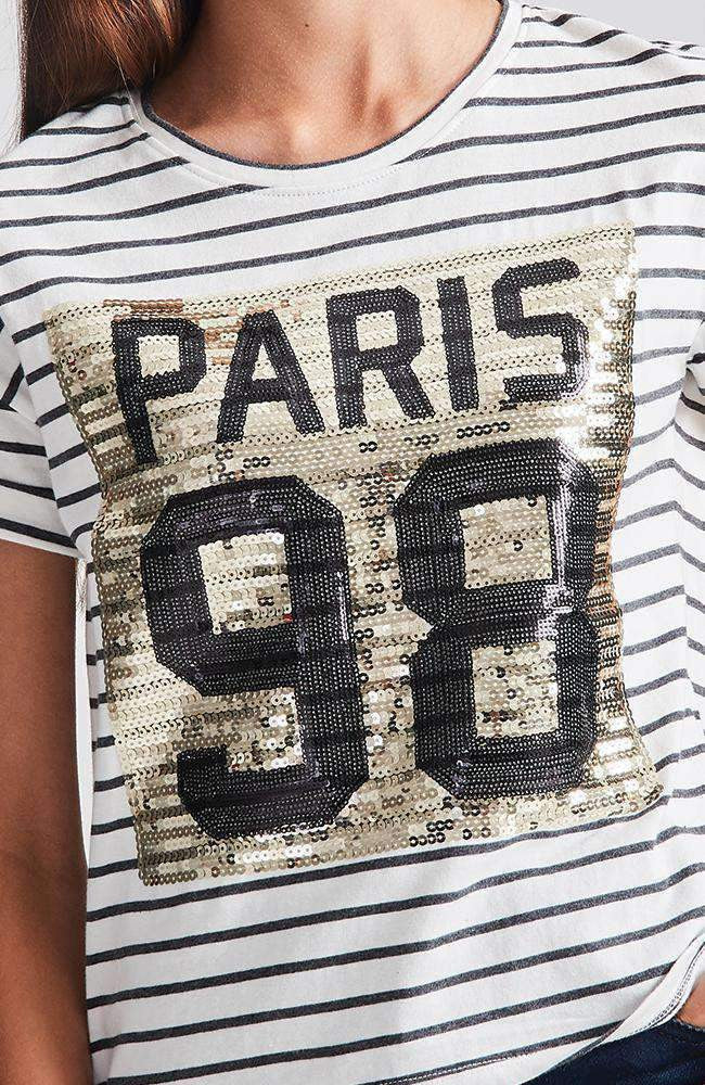 paris grey & white stripe gold sequin tee