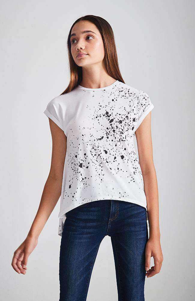 paint splatter white & black tee