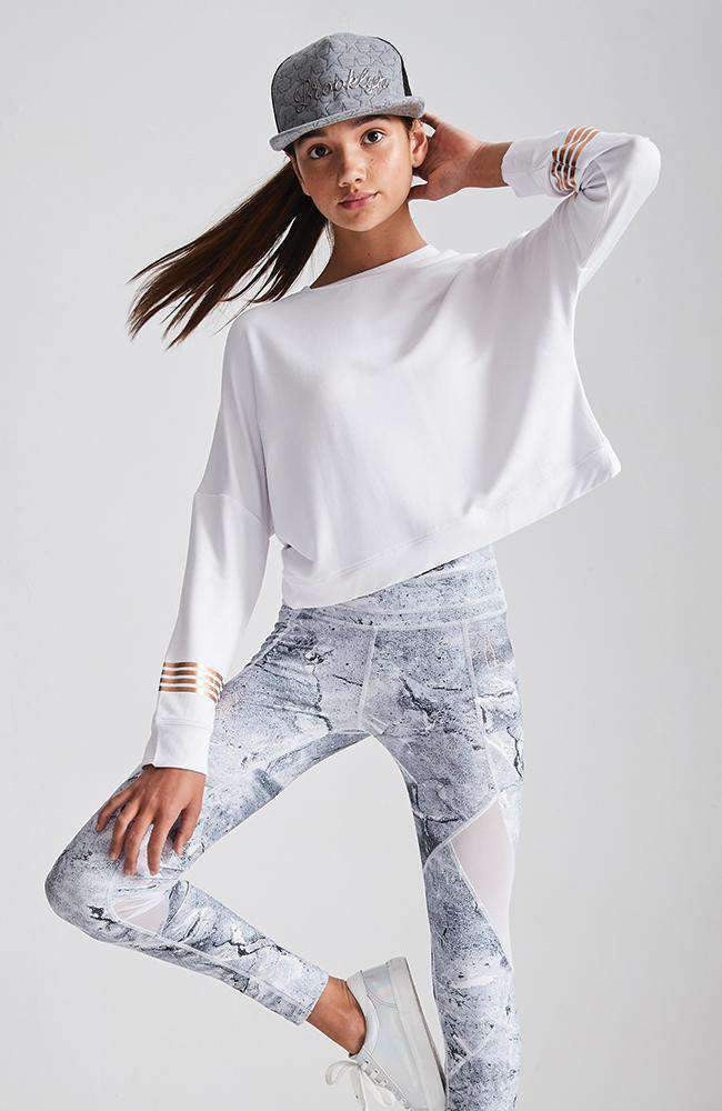 alyssa white & gold stripe cropped cutout sweat top