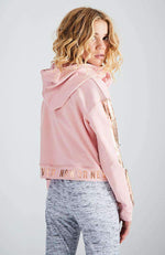 joanne pink & rose gold cropped hooded sweat top