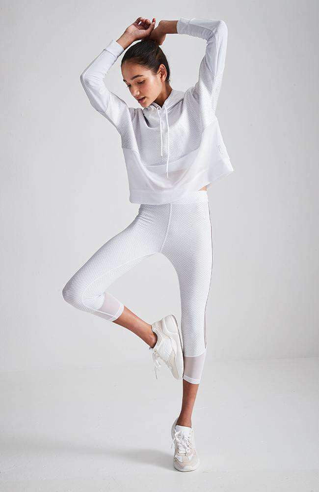 nina white mesh cropped hooded sweat top