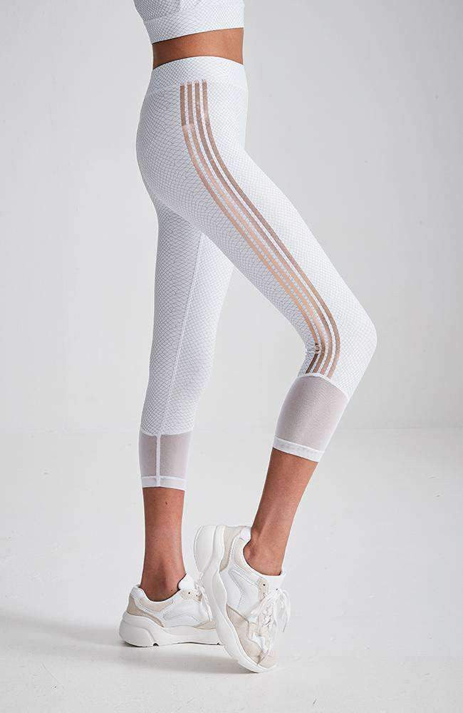 celestia white mesh & gold stripe crop active legging