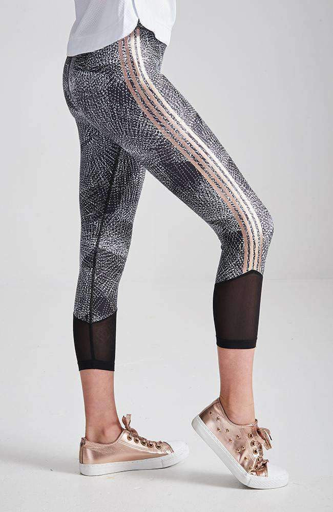 luciana black & white rose gold stripe active legging