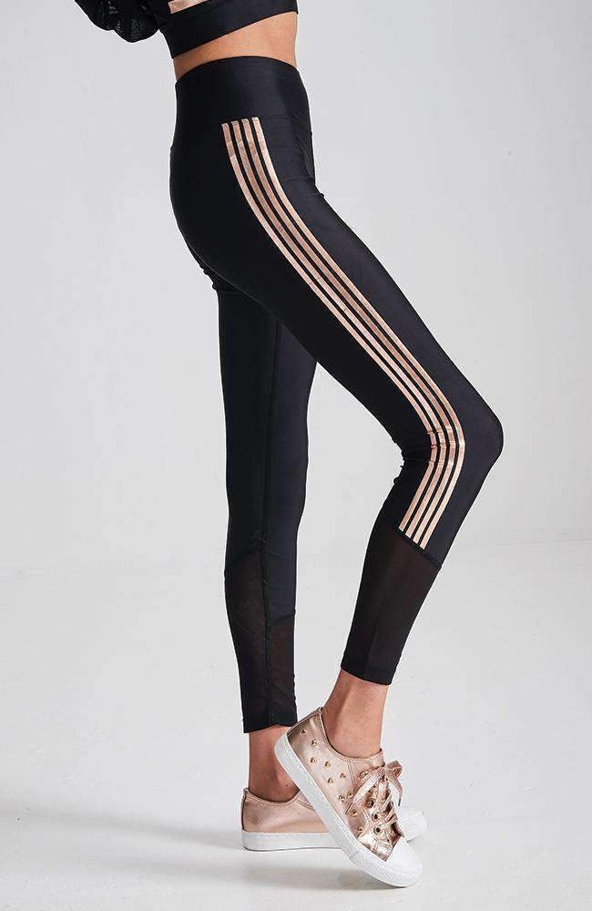 coco black & rose gold stripe active legging