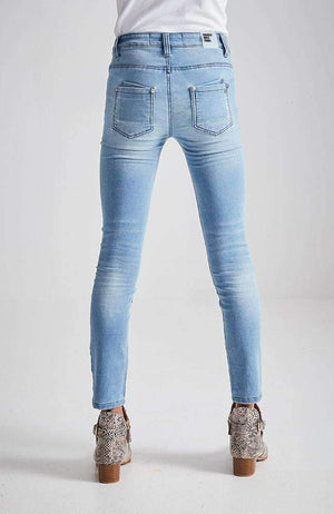 bethany faded blue mid rise super stretch jean