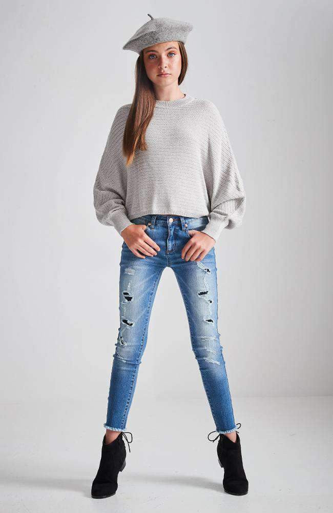miranda mid blue distressed ripped skinny jean