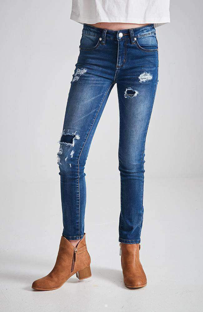 renee dark denim distressed ripped skinny jean