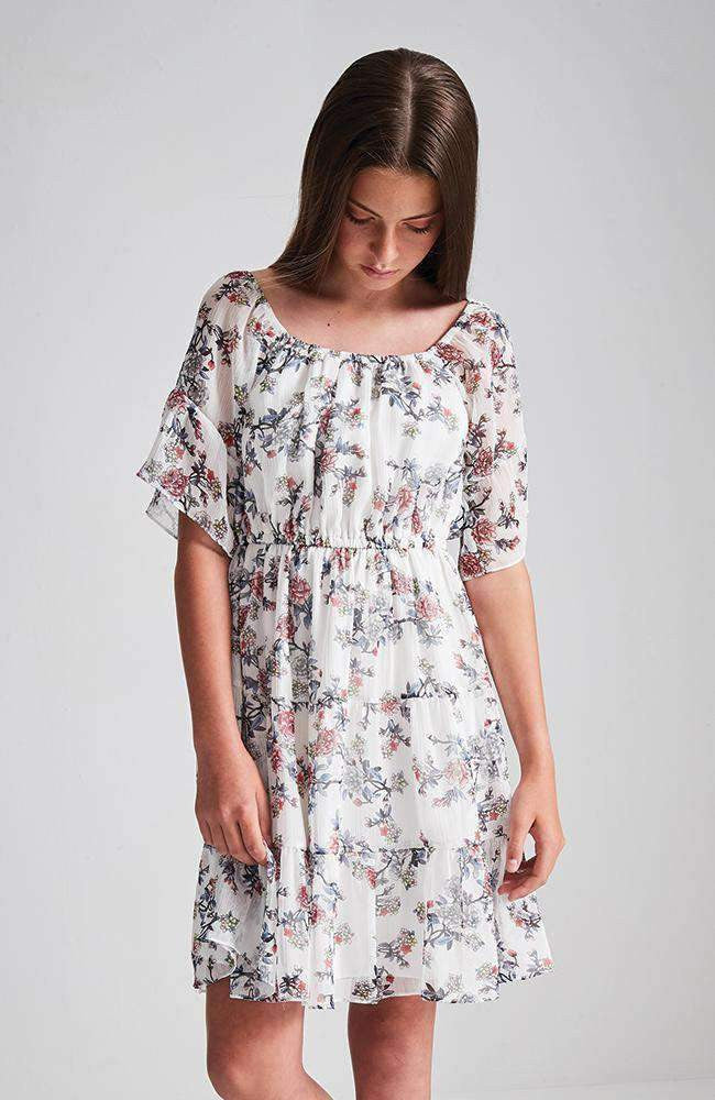 marissa pink & white crinkle floral dress
