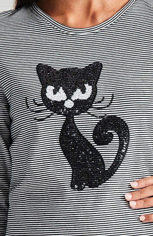 fancy feline black & white stripe sequin cat tee