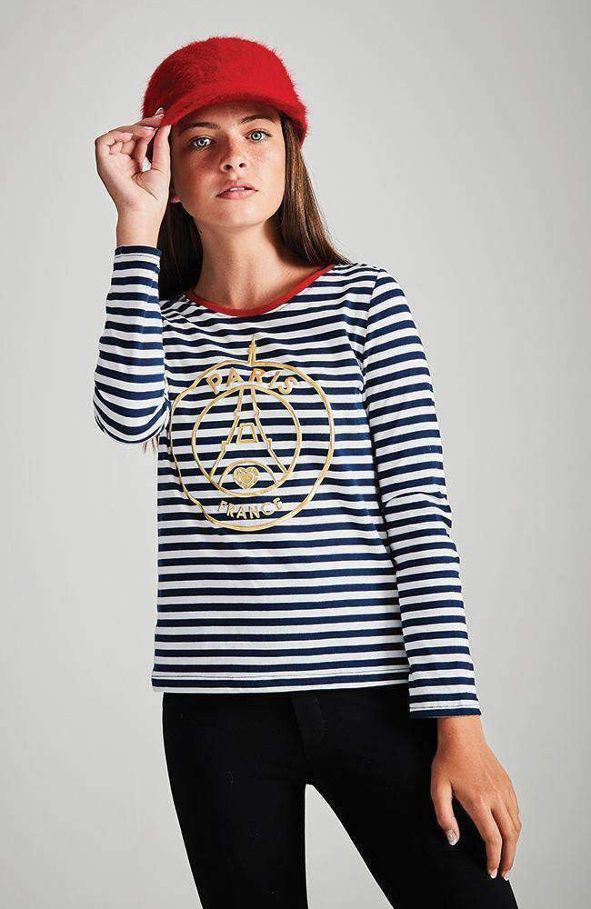 paris ringer navy & white stripe gold foil tee