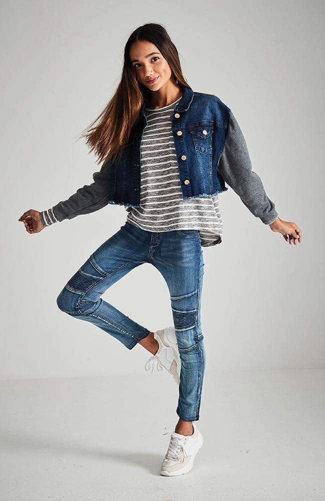 isadora grey sweatshirt denim jacket