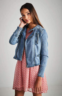 giovanna moto stretch denim jacket