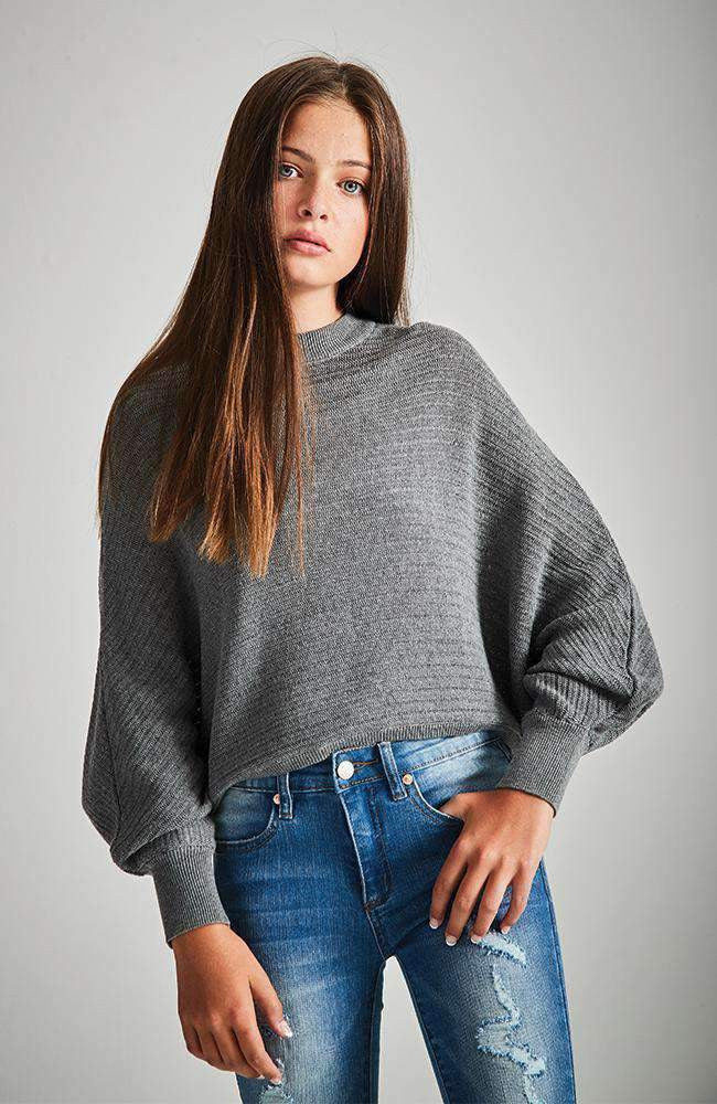 beverly dark grey cropped batwing knit sweater