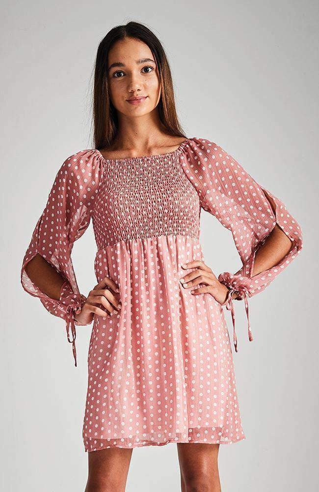 gigi sheer pink polka dot party dress