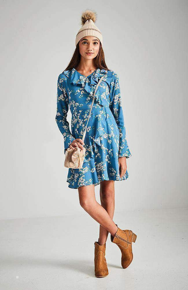 abigail blue floral ruffle party dress