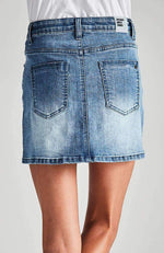 enya faded denim mini skirt