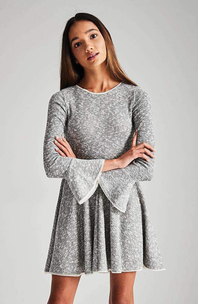 arianna grey knit ruffle party dress