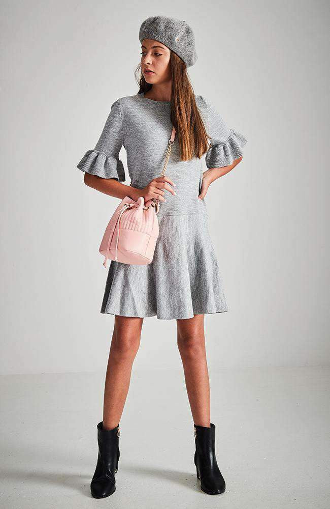 isabella grey ruffle sleeve knit party dress