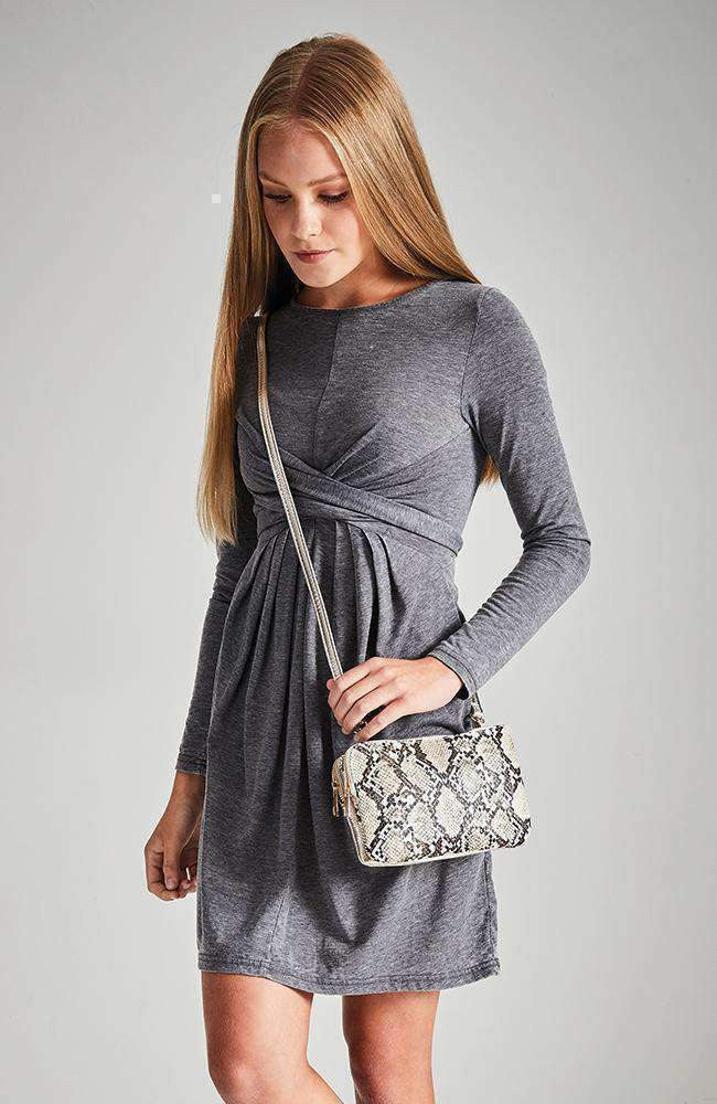 natalie grey layered stretch knit dress