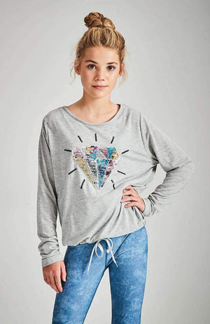 diamond pastel sequin drawstring tee