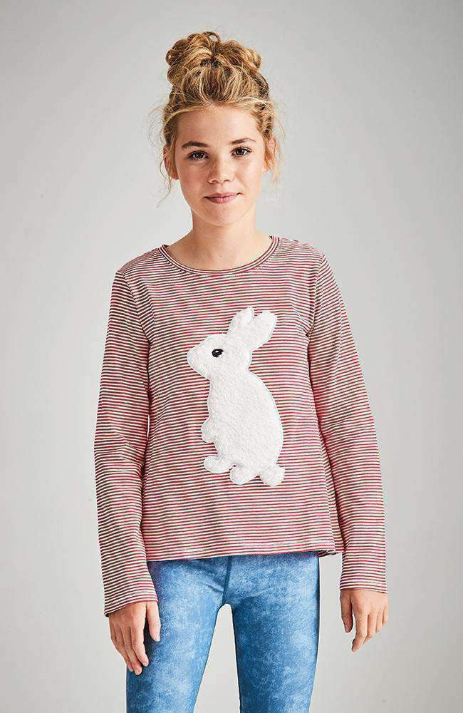 bunny tail red & white stripe fluffy applique tee