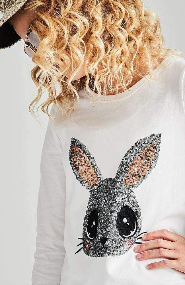 happy rabbit silver & gold sequin tee