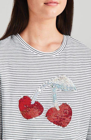swipe cherry black & white stripe red sequin tee