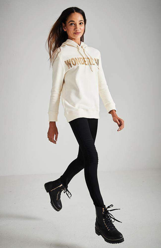 wonderland cream & gold long hooded active sweat top