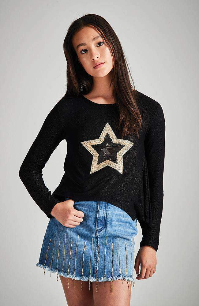 super star black and gold sequin top
