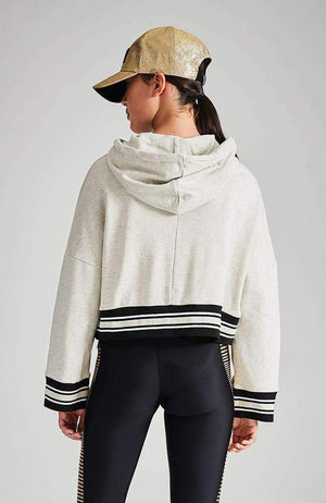 thea grey hooded ace sweat top