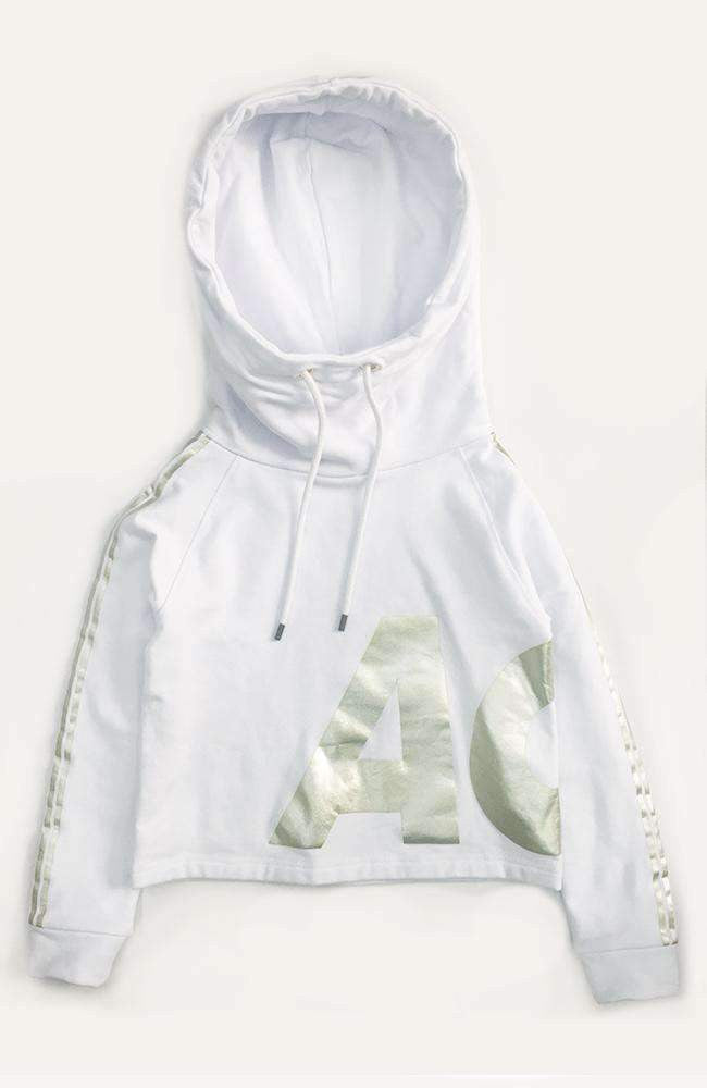 jane white & gold foil ace hooded sweat top