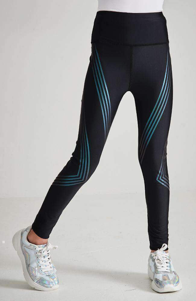 jocelyn black & aqua stripe active legging