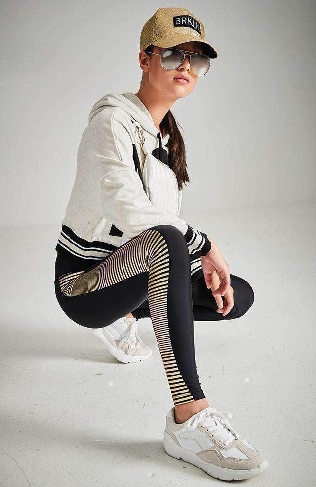 gabriella black & gold stripe active legging
