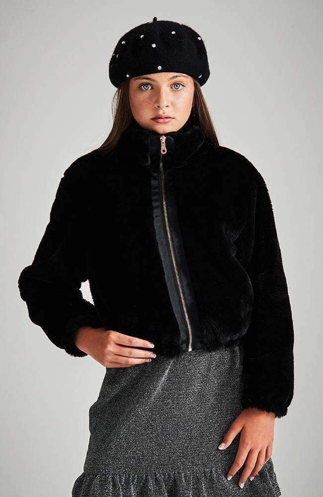 jessa black faux fur bomber jacket