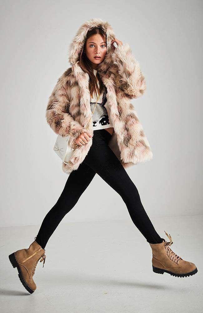 jessie pink & cream faux fur hooded coat