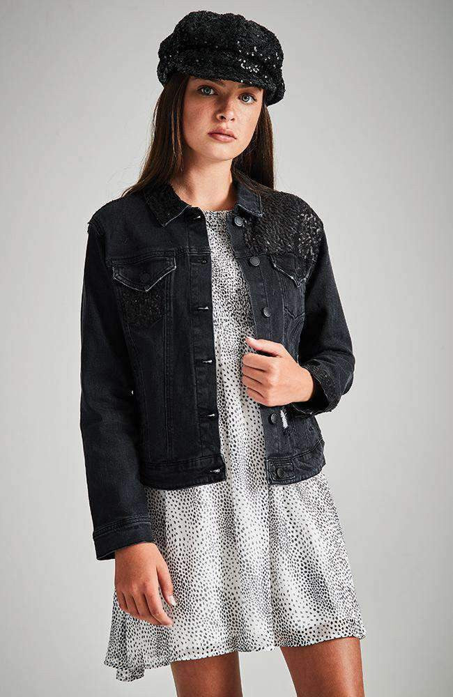 percy black sequin denim jacket