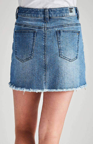 jennifer gold beaded denim mini skirt