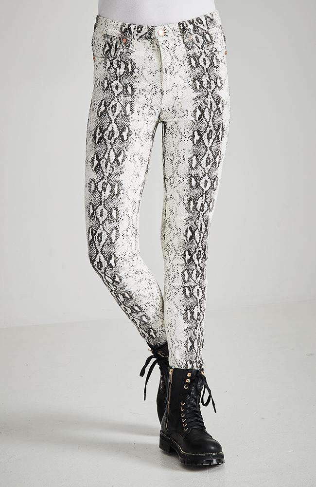 cobra black & white faux snake jean