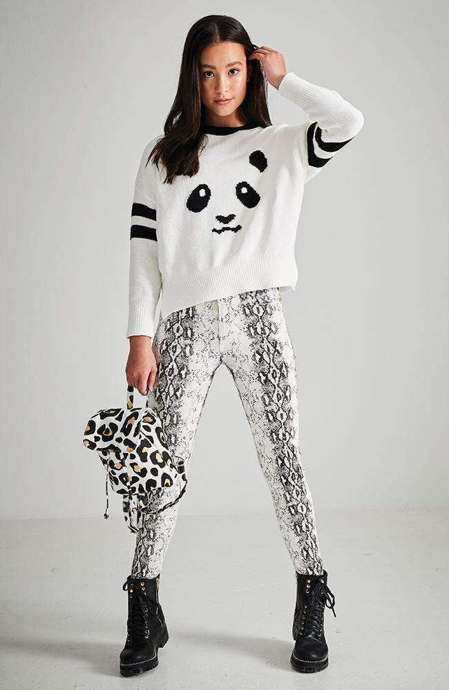 panda black & white knit sweater