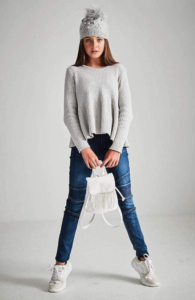 emilia grey ribbed ruffle knit sweater