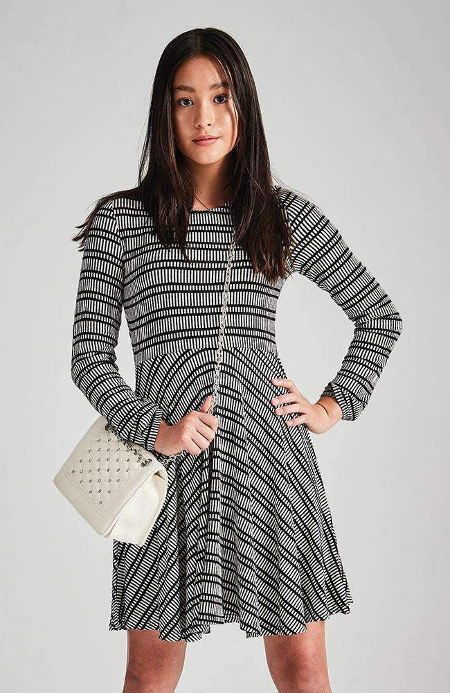jamie black & white stripe knit party dress
