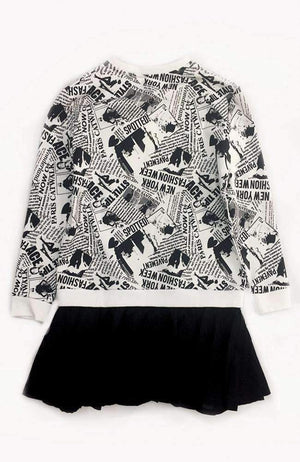 eila black & white newsprint sweatshirt dress