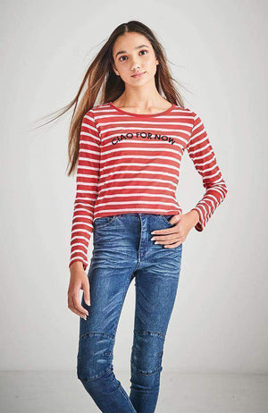 ciao for now rainbow stripe tee