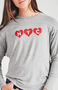 grey & red nyc love heart tee