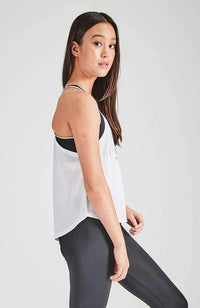 christina gold & white active tank top